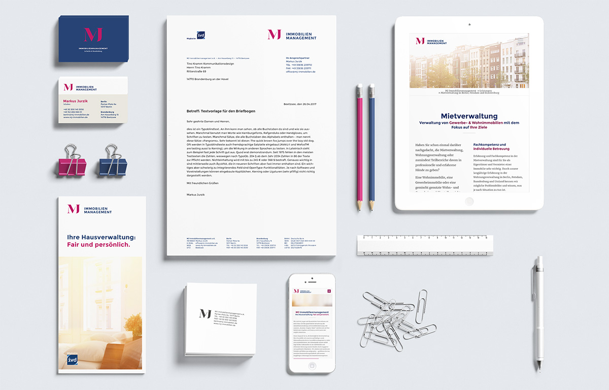 Corporate Design der Hausverwaltung MJ Immobilienmanagement