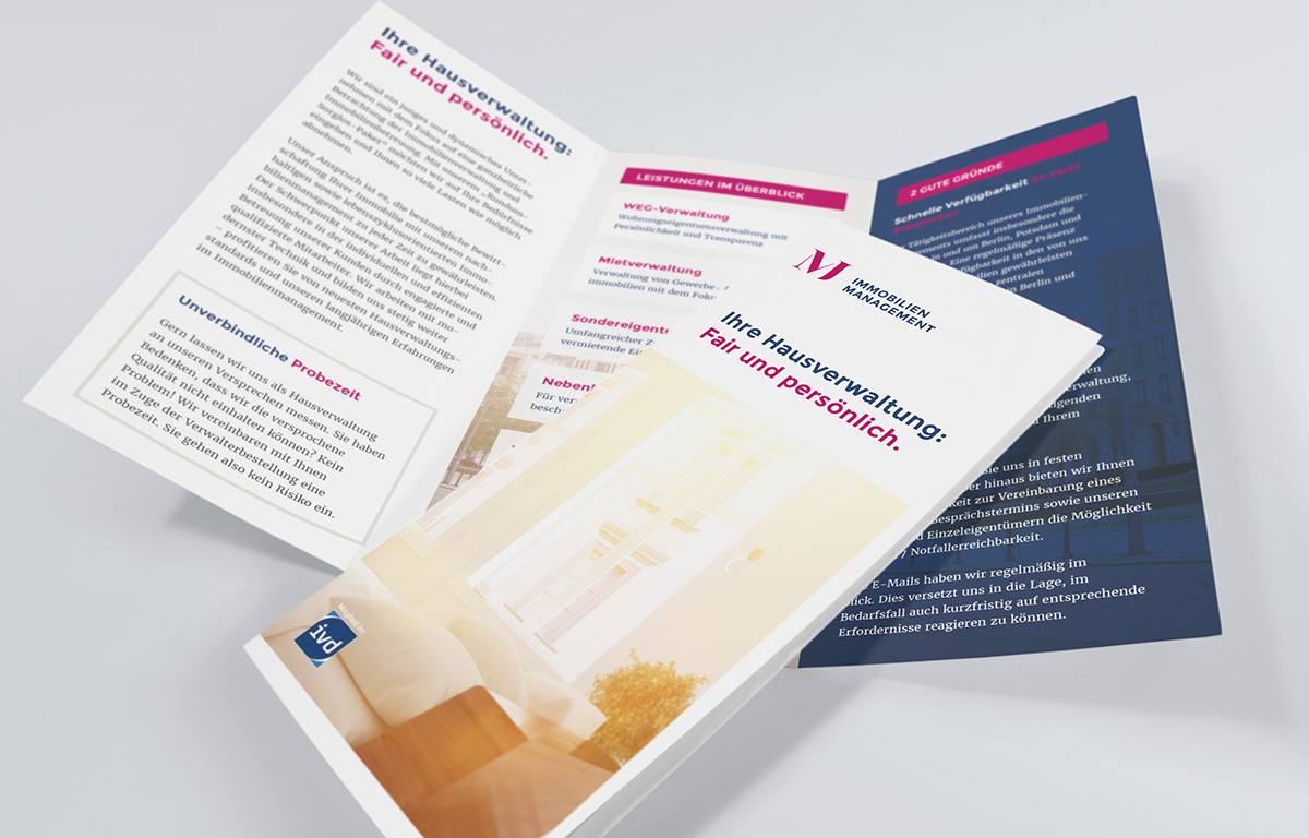 Flyer der Hausverwaltung MJ Immobilienmanagement