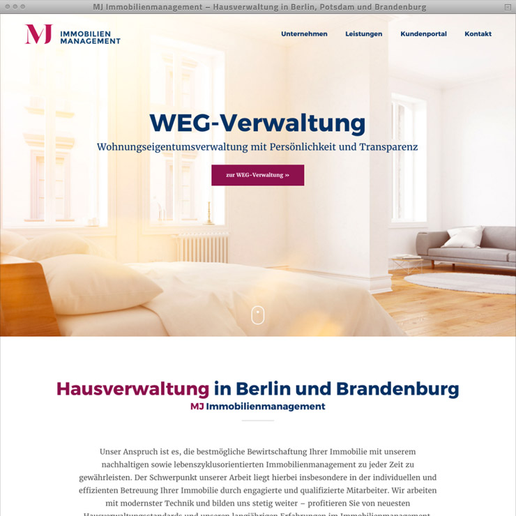 Webdesign Hausverwaltung MJ Immobilien – Home
