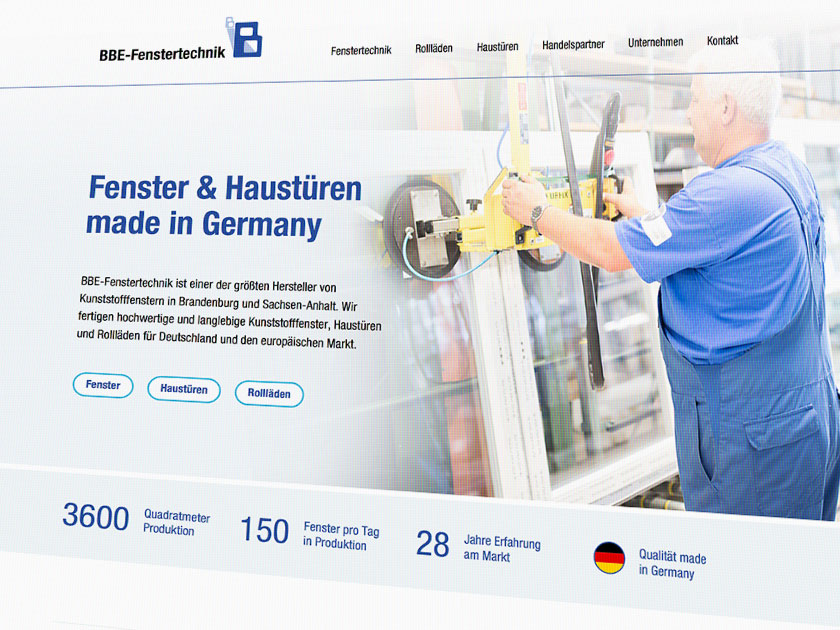 Webdesign BBE-Fenstertechnik