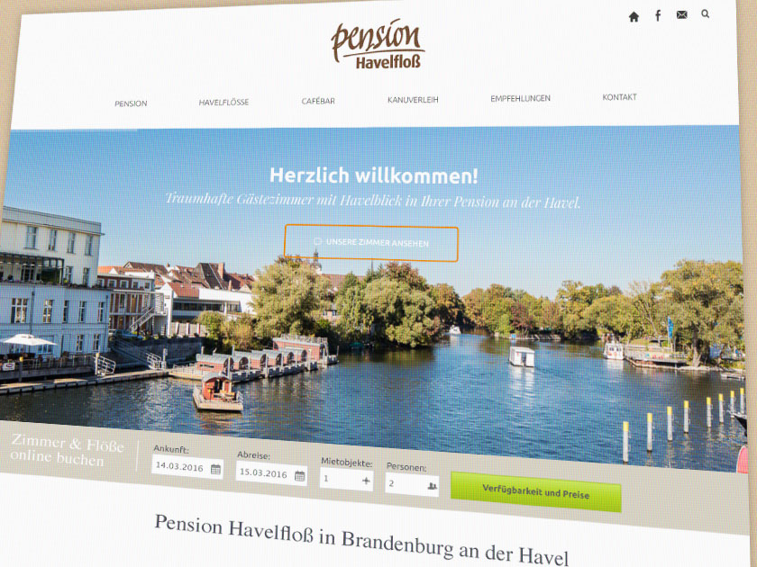 Referenz – Webdesign – Pension Havelfloß & cafébar