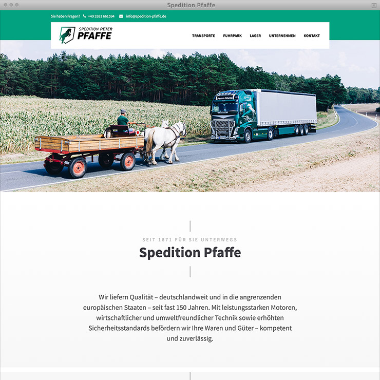 Webdesign Spedition Pfaffe – Home