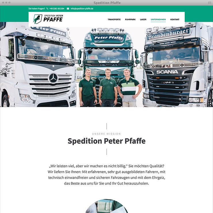 Webdesign Spedition Pfaffe – Subsite